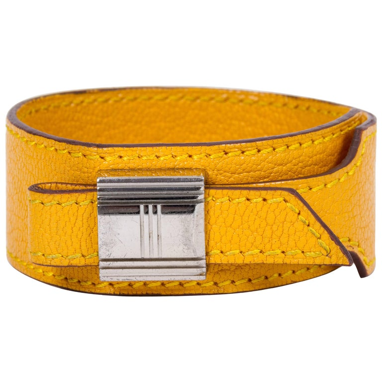 Hermes Yellow Slide Leather Bracelet For Sale