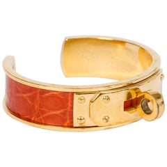 Hermes Orange Crocodile Cuff Bracelet