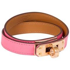 New Hermes Rose Azalee Double Kelly Bracelet