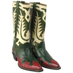 1950s Hand made Green Red White Leather Cowboy Boots 6.5