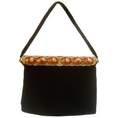 Opulent French Ebony Glass Beaded Evening Bag c 1960s