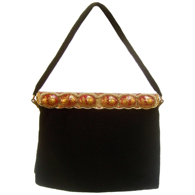 99f5c4214a Opulent French Ebony Glass Beaded Evening Bag c 1960s For Sale at 1stdibs