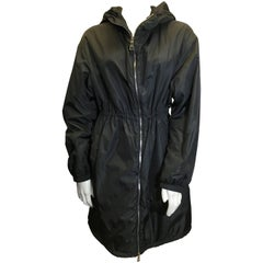 Prada Black Cinched Hooded Coat