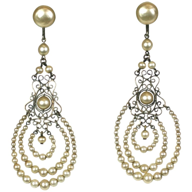 Louis Rousselet Art Deco Pearl Earrings For