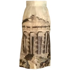 New 2014 Dolce & Gabbana Cream Silk Greek Ruins Temple Column Pencil Skirt