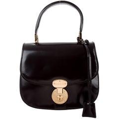 Balenciaga Black Leather Gold Clock Kelly Top Handle Satchel Evening Flap Bag