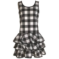Dolce & Gabbana New with Tags Black and White Gingham Check Ruffle Bottom Dress