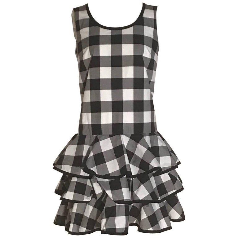 Dolce & Gabbana New with Tags Black and White Gingham Check Ruffle Bottom Dress 1
