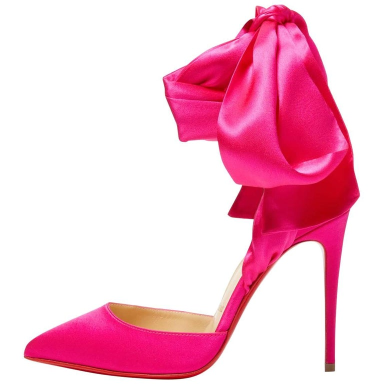 f5ecdd7e683 Christian Louboutin NEW Hot Pink Satin Bow Evening Sandals Pumps Heels in  Box For Sale