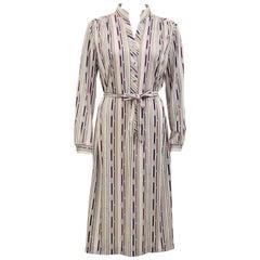 1970s Lanvin Beige Long Sleeve Printed Dress