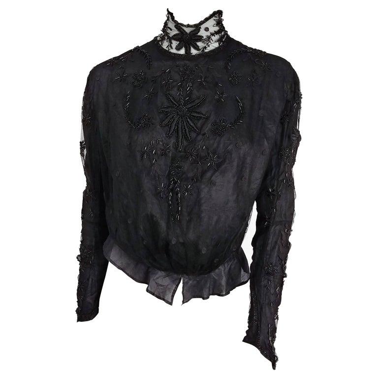 Edwardian Black Beaded Blouse