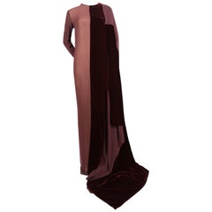 new 1997 GIANFRANCO FERRE silk and velvet runway gown with train
