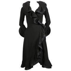 1960's PIERRE BALMAIN haute couture black dress with flounced trim