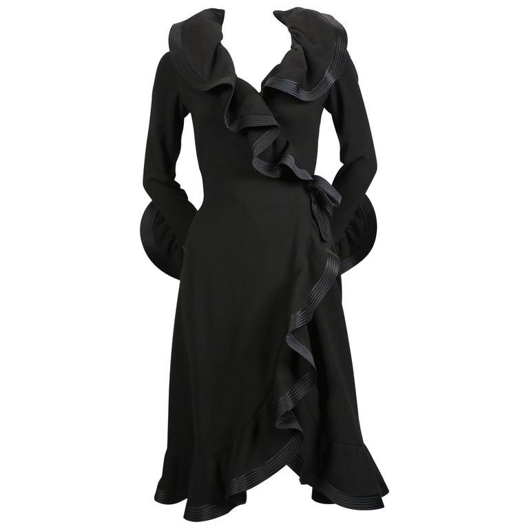 1960's PIERRE BALMAIN haute couture black dress with flounced trim For Sale