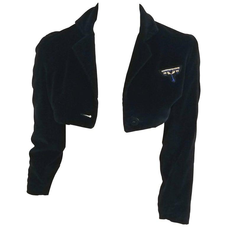 1980s Gianni Versace Velveteen Ultra Cropped Jacket