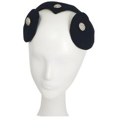 1950s Navy Hat with Cutouts and Rhinestone Buttons