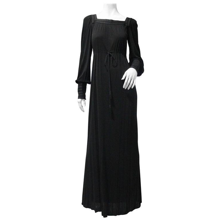1970s Yves Saint Laurent Black Rayon Jersey Dress Square Moroccan Braid Trim