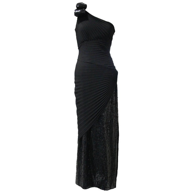 c6e9ed877dc5 1970s Lorris Azzaro Black Rayon Crepe One-Shoulder Sequin Panel Pleated Gown  For Sale