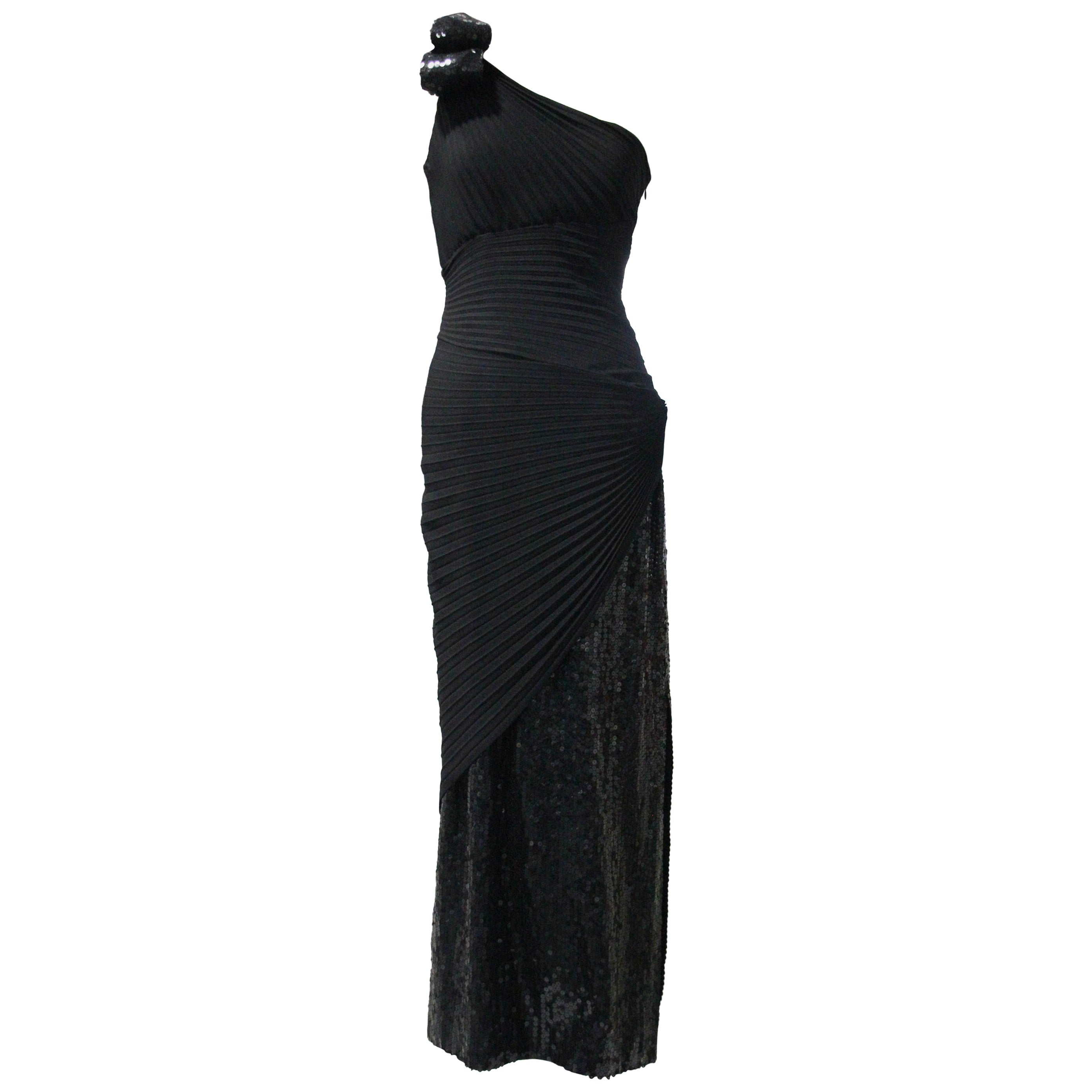 1970s Lorris Azzaro Black Rayon Crepe One-Shoulder Sequin Panel Pleated Gown