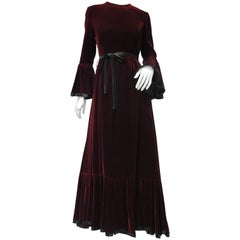 Late 1960s Ferdinando Sarmi Burgundy Velvet Gown with Flared Cuffs and Hem