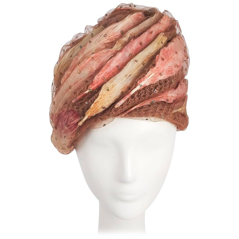 1960s Christian Dior Tulle Turban with Feathers