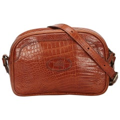 Mulberry Brown Embossed Leather Shoulder Bag