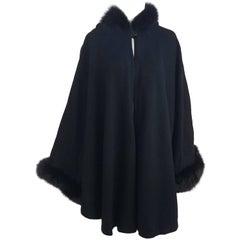 1970s Black Wool Felt Hooded Cocoon Cape with Fox Fur Trim