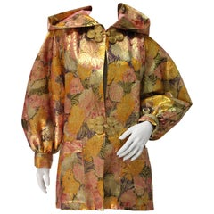 1980s Fernando Sanchez Gold Brocade Bed Jacket & Pink Silk Lined Hood