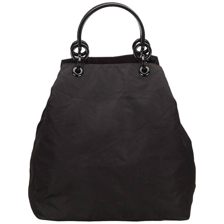 Prada Black Nylon Tote Bag For