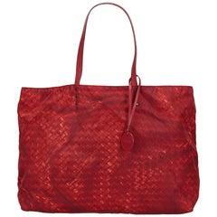 Bottega Veneta Red Intrecciolusion Tote Bag