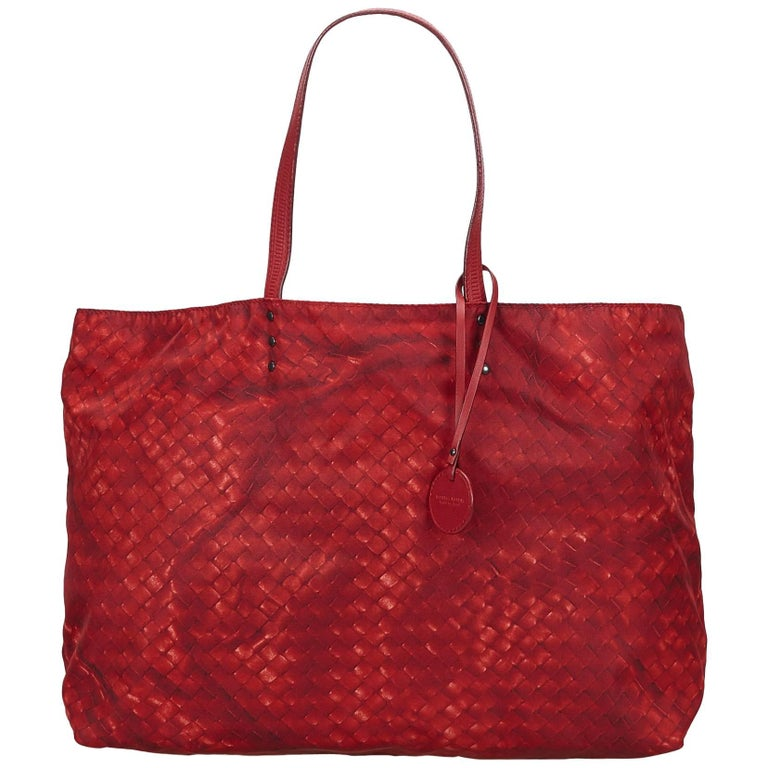 Bottega Veneta Red Intrecciolusion Tote Bag