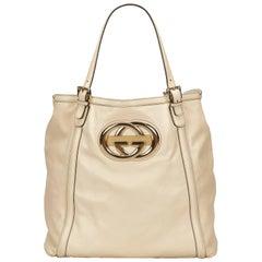 Gucci White Leather Tote Bag