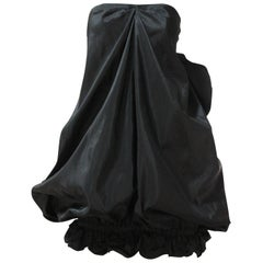 Early 1980s Yves Saint Laurent Black Silk Taffeta Strapless Bubble Mini Dress