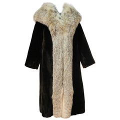 1960s Herbert's Sheared Beaver Coat with Plush Lynx Collar and Trim