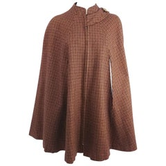 1960s Brown & Burgundy Houndstooth Wool Cape