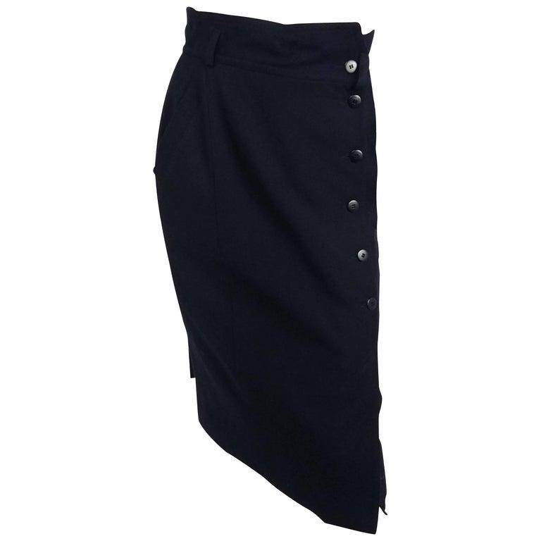 1980s Escada Black Wool Skirt
