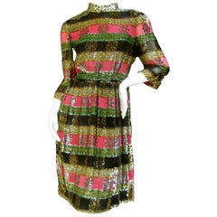 Elegant Silk Devore Metallic Striped Dress by Montaldo's c 1970s