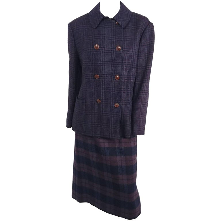 Hermes Purple and Navy Plaid Coat and Skirt Set