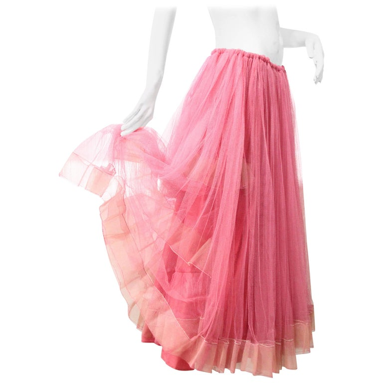 1950s Demi Couture Melon-Color Tulle Crinoline with Layers of Horsehair Trim