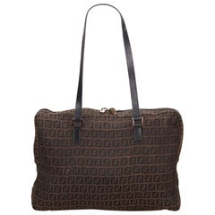 Fendi Brown Zucchino Jacquard Shoulder Bag