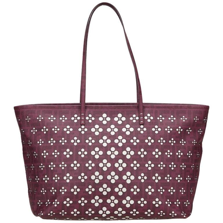 Fendi Purple Zucca Printed Shoulder Bag