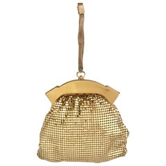Vintage Whiting & Davis Gold Metal Mesh Wristlet Evening Bag