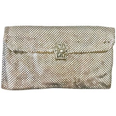 Mid-Century Art Deco Silver Metal Mesh & Austrian Crystal Paste Evening Bag