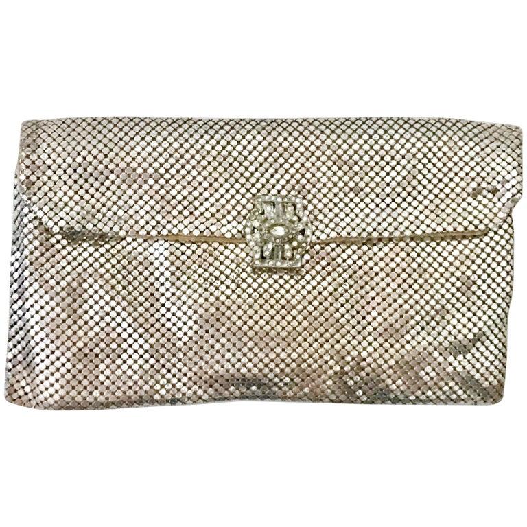 Art Deco Silver Metal Mesh & Austrian Crystal Paste Evening Bag