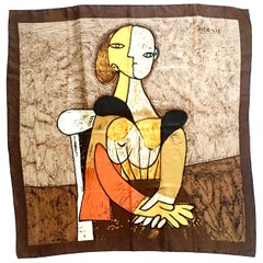 """20th Century French Silk Scarf Portrait of """"Femme Assise"""" After Picasso"""