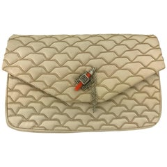 Judith Leiber Quilted Champagne Silk Bag with Faux Coral Clasp, 1980's