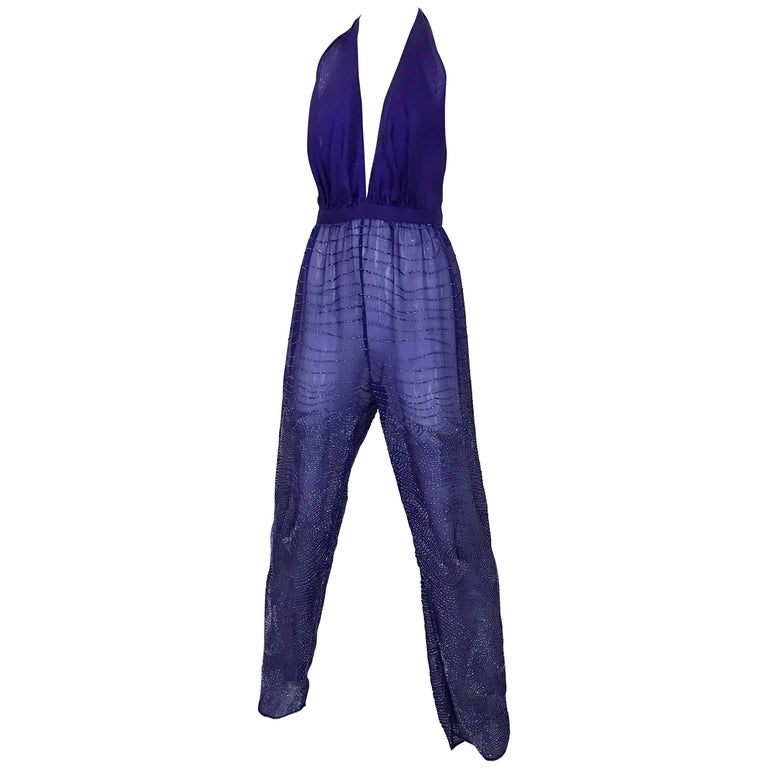 1970s HALSTON Purple V Neck Jumpsuit