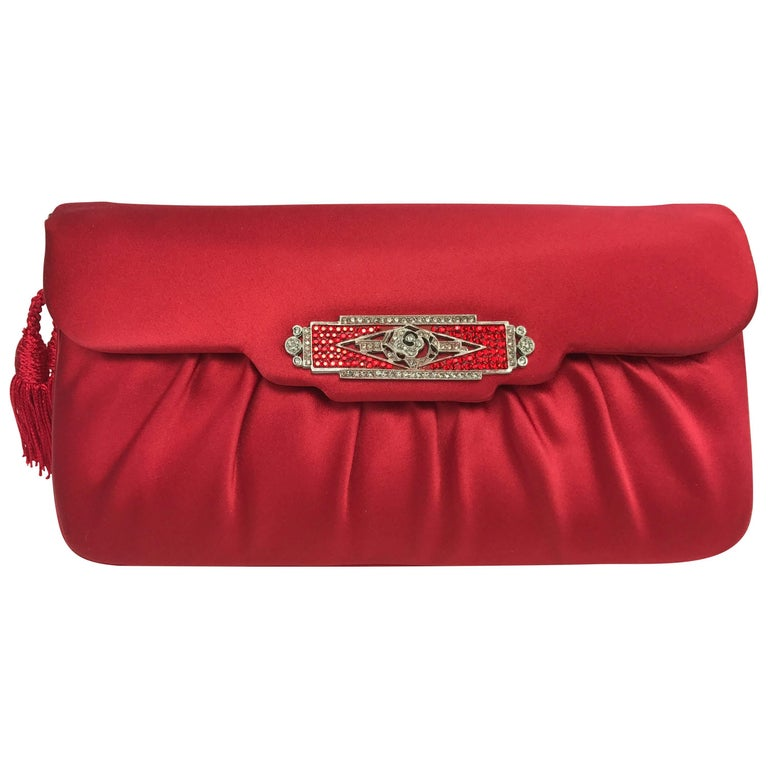 Judith Leiber Red Silk Handbag with Art Deco Style Crystal Clasp. 1980's.