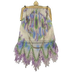 Dresden Mesh Metal Impressionistic Monet Style Color Palette Fringed Bag, 1910