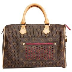 2006 Louis Vuitton Brown Coated Monogram Canvas Fuchsia Perforated Speedy 30